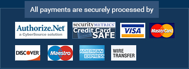 All payments are securely processed by Authorize.Net, Security Metrics: Credit Card SAFE, VISA, MasterCard, Discover, Maestro, American Express, Wire Transfer